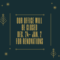 Office closed 12/24/18 - 01/02/19