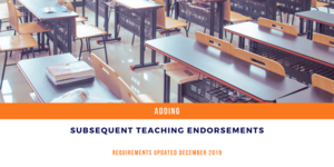Adding Subsequent Teaching Endorsements to your PEL